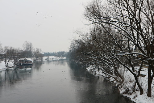 winter sanski most bosnia balkans sana river cold ice snow landscape sky trees birds