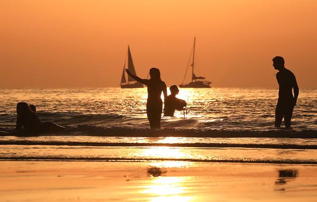 Bathing & sailing at sunset - Tel-Aviv beach - Follow me on Instagram:  @lior_leibler22