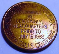 1968 Beaver Falls, PA Half Dollar Token reverse