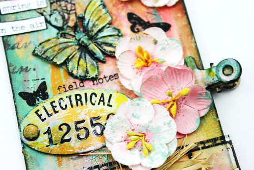 Meihsia Liu Simply Paper Crafts Mixed Media Tag Spring Simon Says Stamp Tim Holtz Prima Flowers 3