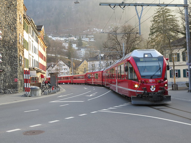Arosa Bahn in Chur at sunset