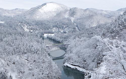冬の第一只見川橋梁、2018年2月撮影