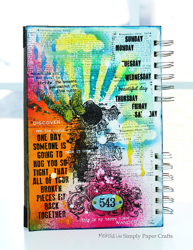 Meihsia Liu Simply Paper Crafts Mixed Media Art Journal Weather Simon Says Stamp Tim Holtz 1