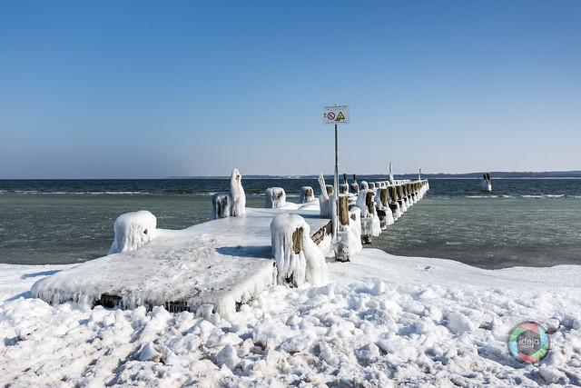Lübeck Travemünde Frozen Jetty in Winter