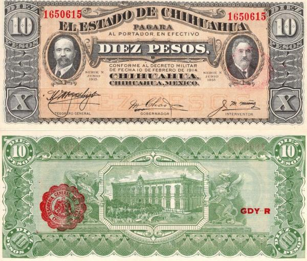 10 Pesos Chihuahua - Mexiko 1915, PS535a