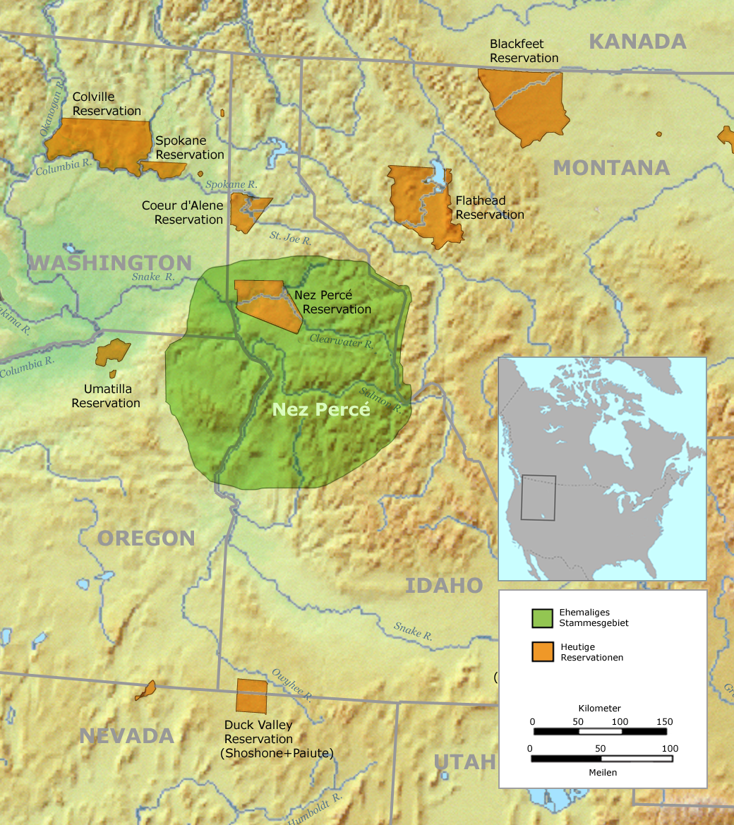 Original Nez Perce territory (green) and the reduced reservation of 1863 (brown)