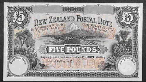 1894 £5 New Zealand postal note