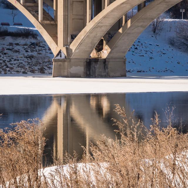 Broadway bridge and reflection