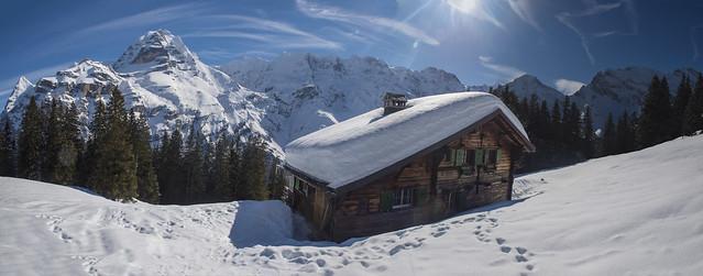 Murren and the Jungfrau mountain at winter time.  Canton of Bern, Switzerland.  Izakigur no. 6064 6065 6066 6067 . 19.02.18, 13:12:15 .