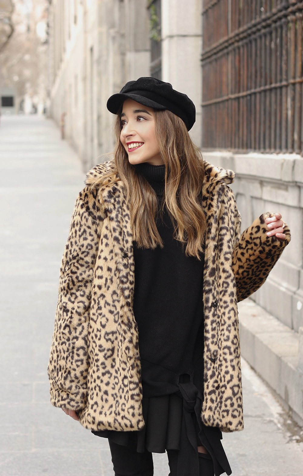 leopard coat black outfit over the knee boats givenchy black cap winter outfit12