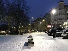 La place Riga en haut du parc sous la neige