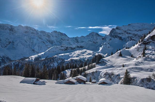 Swiss winter time, Gimmela (Murren) at winter time. Canton of Bern (Switzerland). Izakigur no. 8902 8903.
