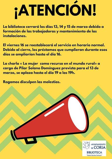 La Biblioteca Municipal  permanecerá cerrada los días 13, 14 y 15 de marzo