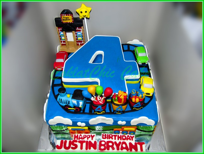 Cake Angka 4 Train JUSTIN 22 cm