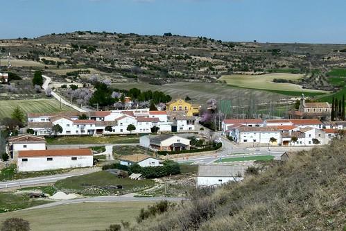 MONTARRÓN (Guadalajara). Spain. 2014. Vista del pueblo nuevo desde el cerro la Atalaya.