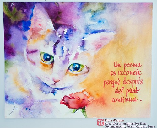 Retrat de gat; aquarel·la de l'Eva Elias, texts de Ferran Cerdans Serra manuscrits per l'autor. Ànimes nues, 2008
