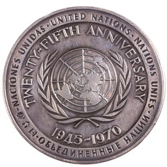 1970 United Nations 50th Anniversary Medal reverse