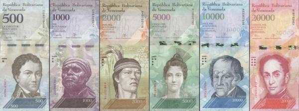 Sada 6 ks 500-20000 Bolívares Venezuela 2016-17