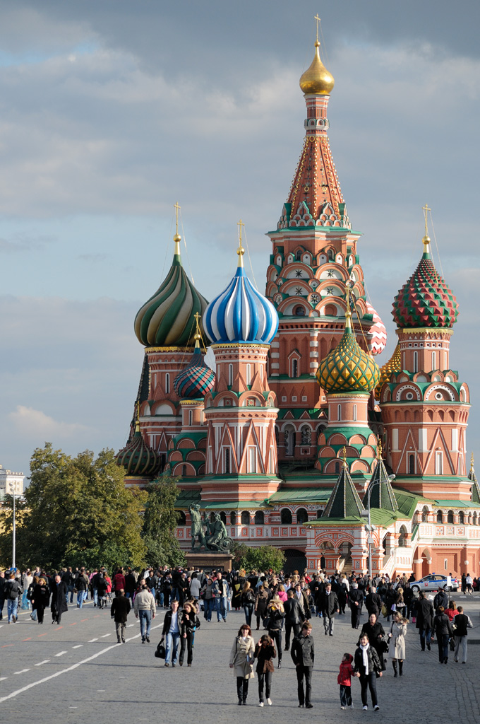 Saint Basil's Cathedral was built in Red Square adjacent to the Moscow Kremlin in 1561. Photo taken on September 26, 2008.