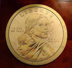 Old mouse pad Sacagawea dollar