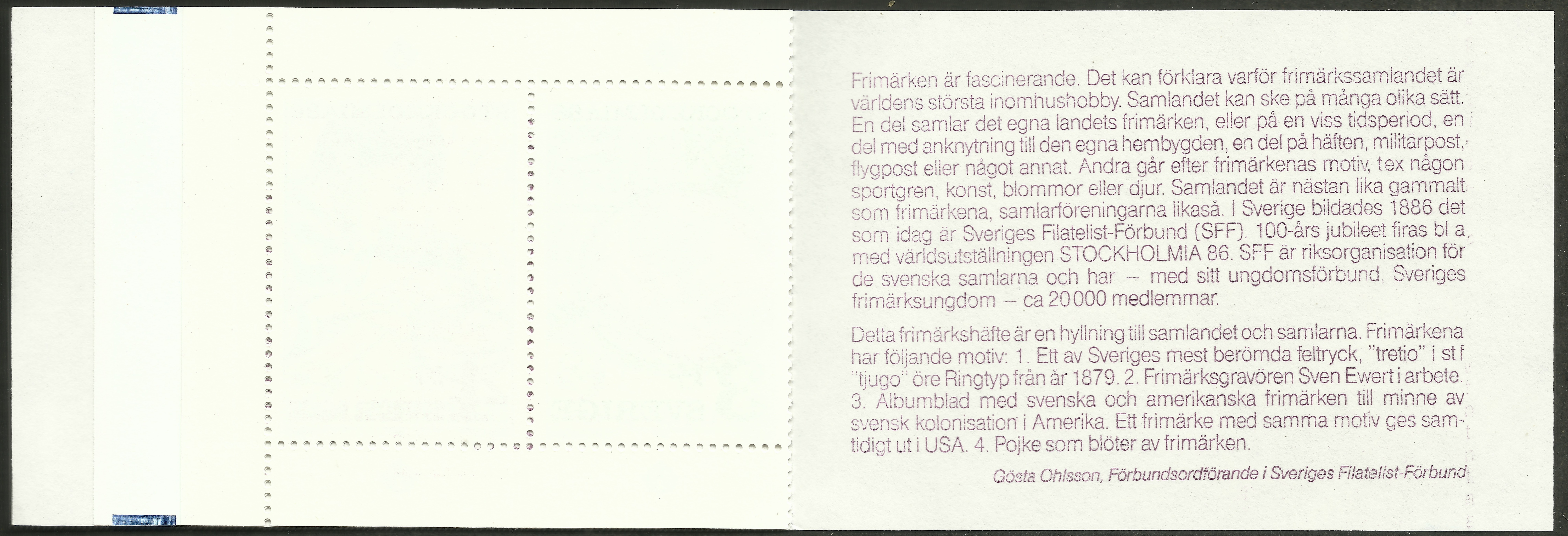 Sweden booktlet (inside) for 1986 stamp collecting issue
