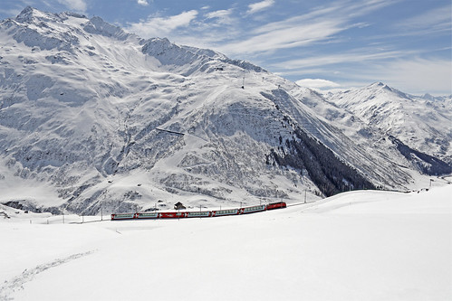 Glacier Express in winter. From Have A Swiss Travel Pass? Happy Traveling via Trains, Boats, and Land