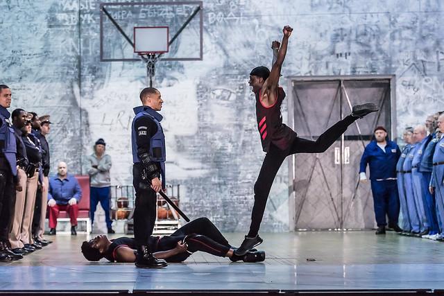 Salim Sai and Jamal Renaldo as Actors, Jordan Ajadi as Dancer (C) ROH. Photo by Clive Barda