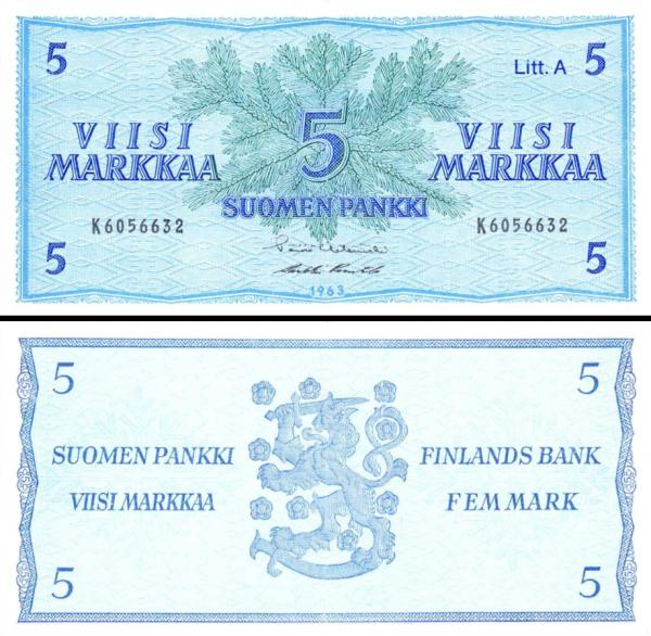 5 Markka Fínsko 1963, P103a