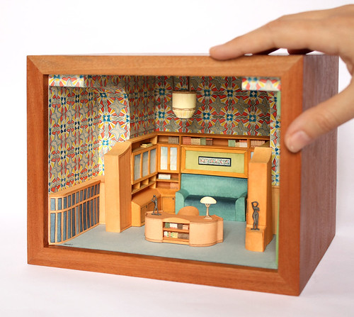 Watercolor Illustrated Miniature Room Diorama by Mar Cerdà
