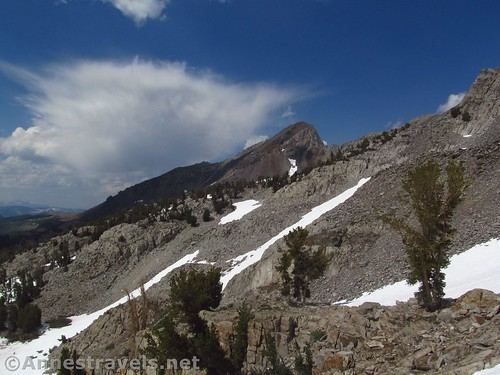 Peaks on the way back down the Duck Pass Trail in Inyo National Forest, California