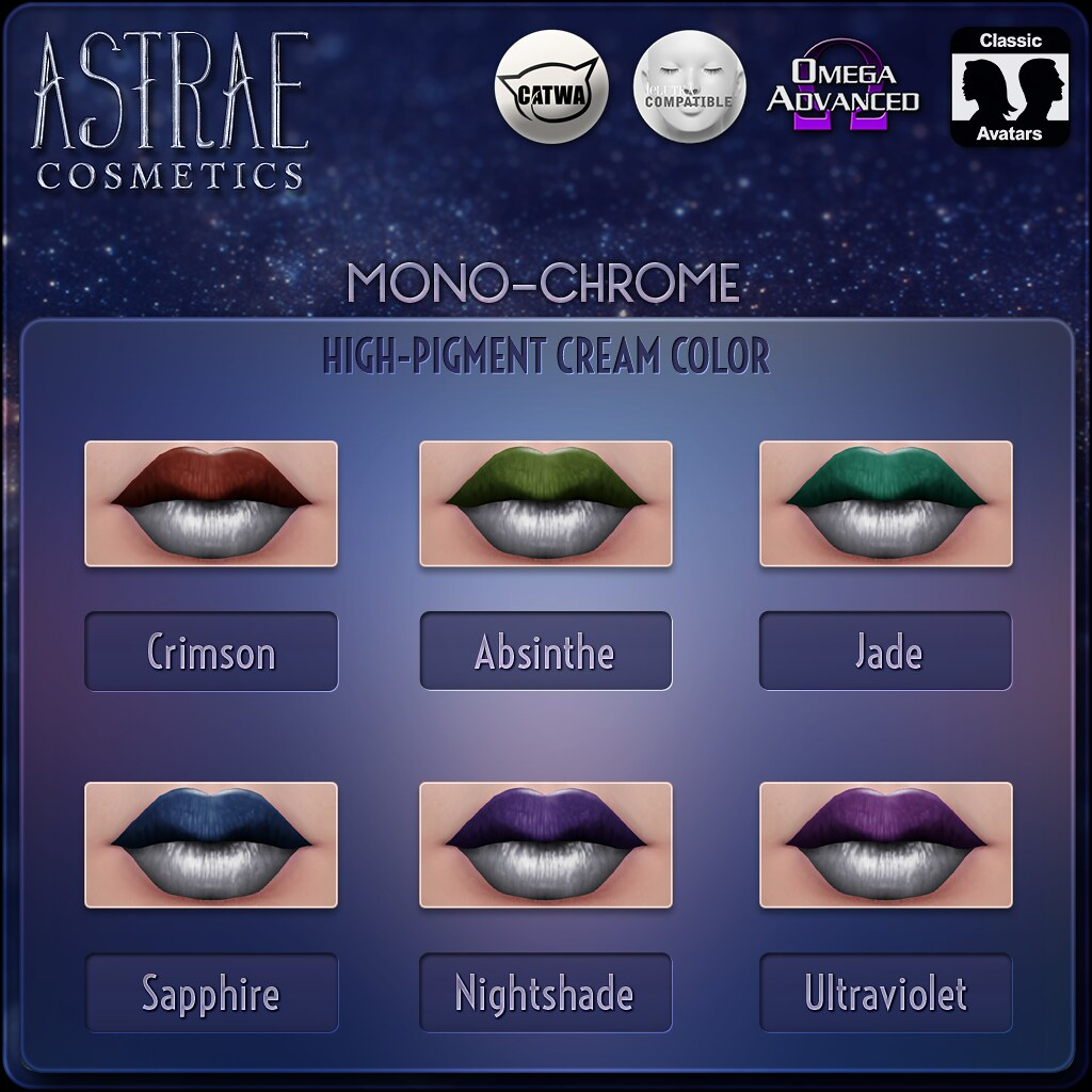 Astrae . Mono-Chrome Lip Colors - TeleportHub.com Live!