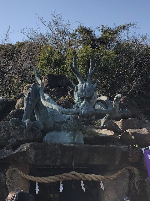 Dragon at shrine entrance on Enoshima island
