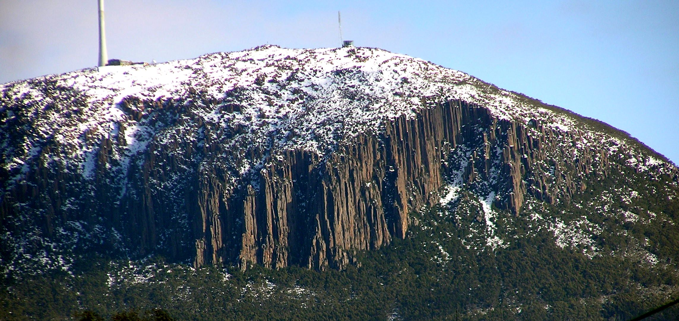 The top of Mount Wellington Tasmania showing the Organ Pipes, columnar jointed dolerite. Photo taken on August 24, 2008.