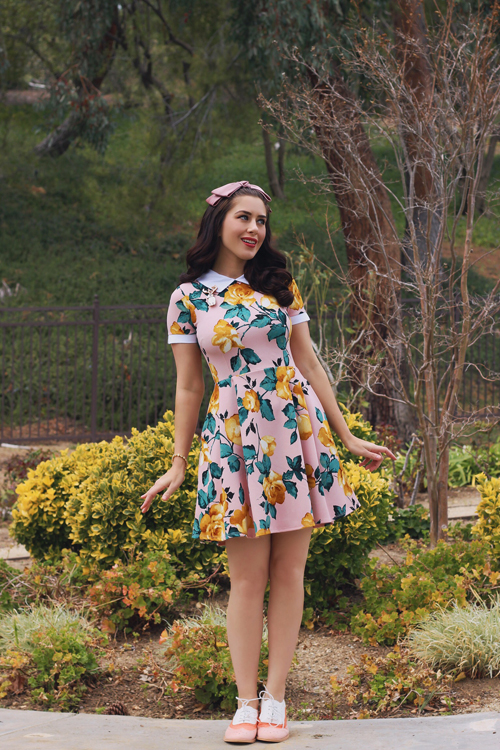 Smak Parlour Blush Pink Short Sleeve Floral Print Dress with Collar
