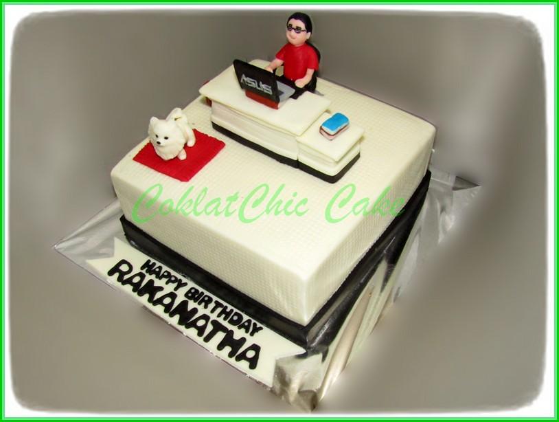 Cake Boy Studying with mini pom doggy RAKANATHA 18 cm