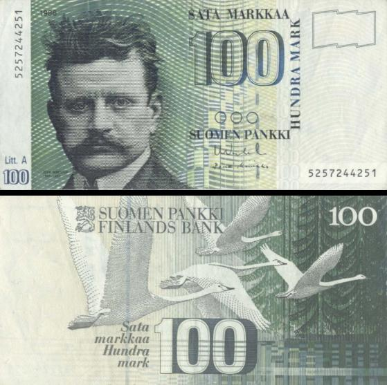 100 Markka Fínsko 1986, P119