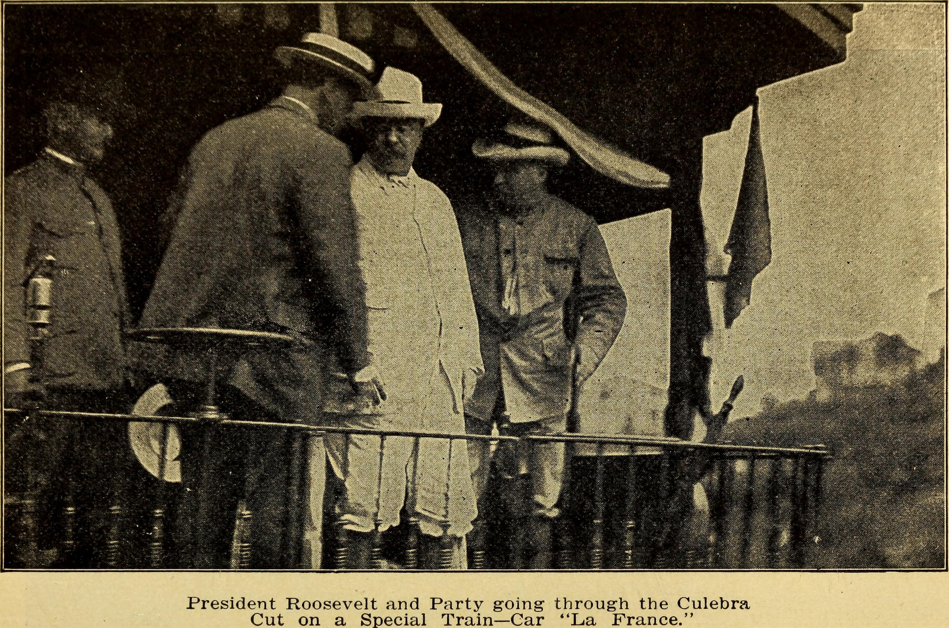 U.S. President Theodore Roosevelt wearing a Panama hat during his visit to the Panama Canal. Originally published in Panama Pictures: Nature and Life in the Land of the Great Canal by Michael Delevantes, 1907.
