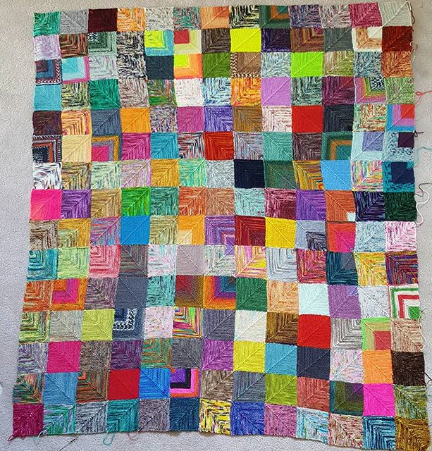 after almost four years of knitting, it's now 195 squares big 💖 probably a few more years to go