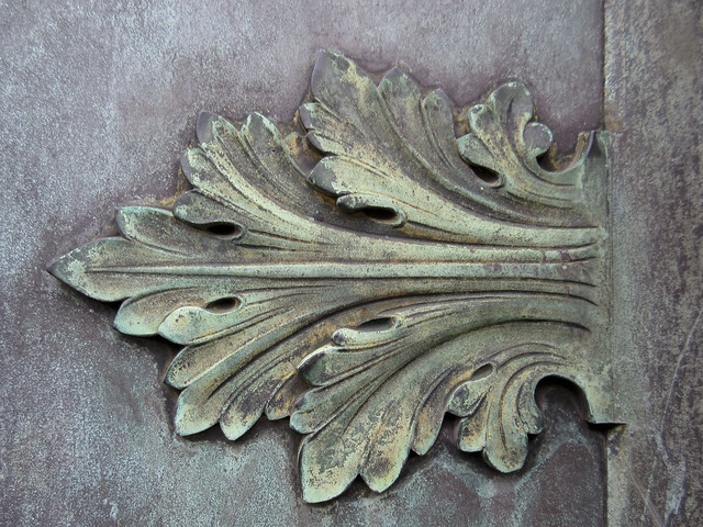 Ornamental leaf on a mausoleum door