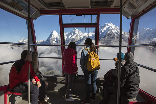 View from Gondola, Schilthorn. From Have A Swiss Travel Pass? Happy Traveling via Trains, Boats, and Land