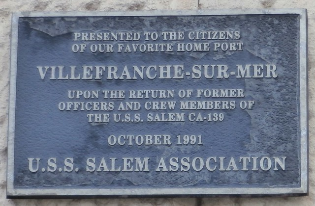 USS Salem Association Commemorative plaque - Villefranche-sur-Mer, Côte-d'Azur, France