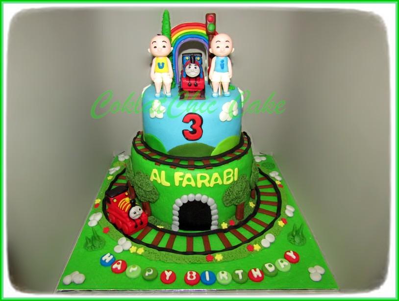 Cake Thomas Ipin Upin AL FARABI 15 cm dan 12 cm