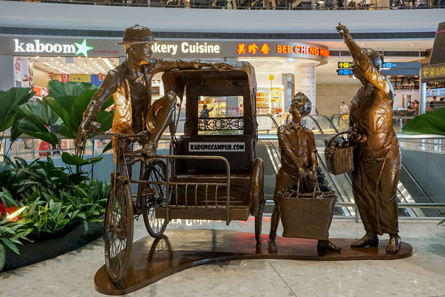 changi airport t4 art copper becak public area - kadungcampur