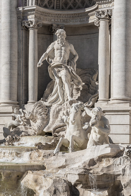Rome 96 Piazza di Trevi 36 La Fontana detail