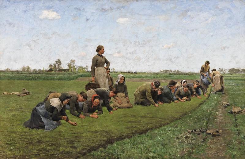 Emile Claus - Vlaswieden in Vlaanderen (1887)