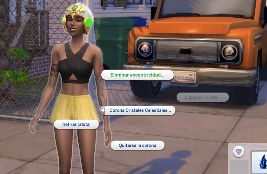 Corona Cristales Celestiales en Los Sims 4 - Opciones