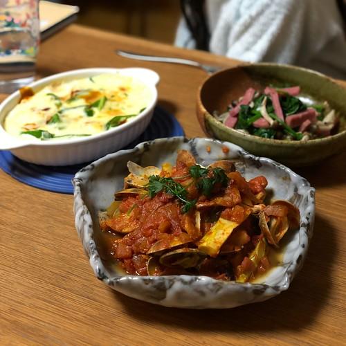 魚介のトマトソース煮、ほうれん草のソテー、豆腐のグラタン