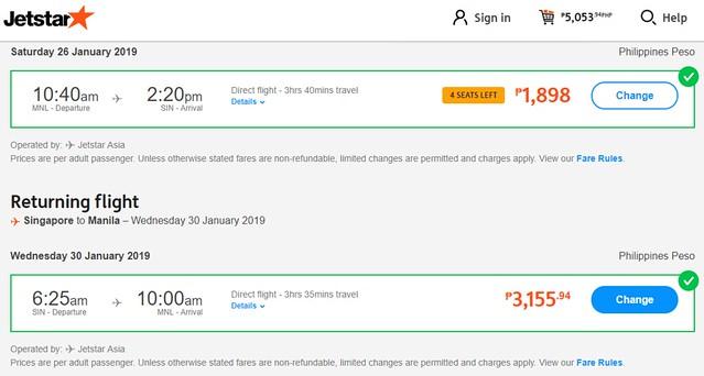 Jetstar 12 12 Cyber Sale Manila to Singapore Roundtrip Promo
