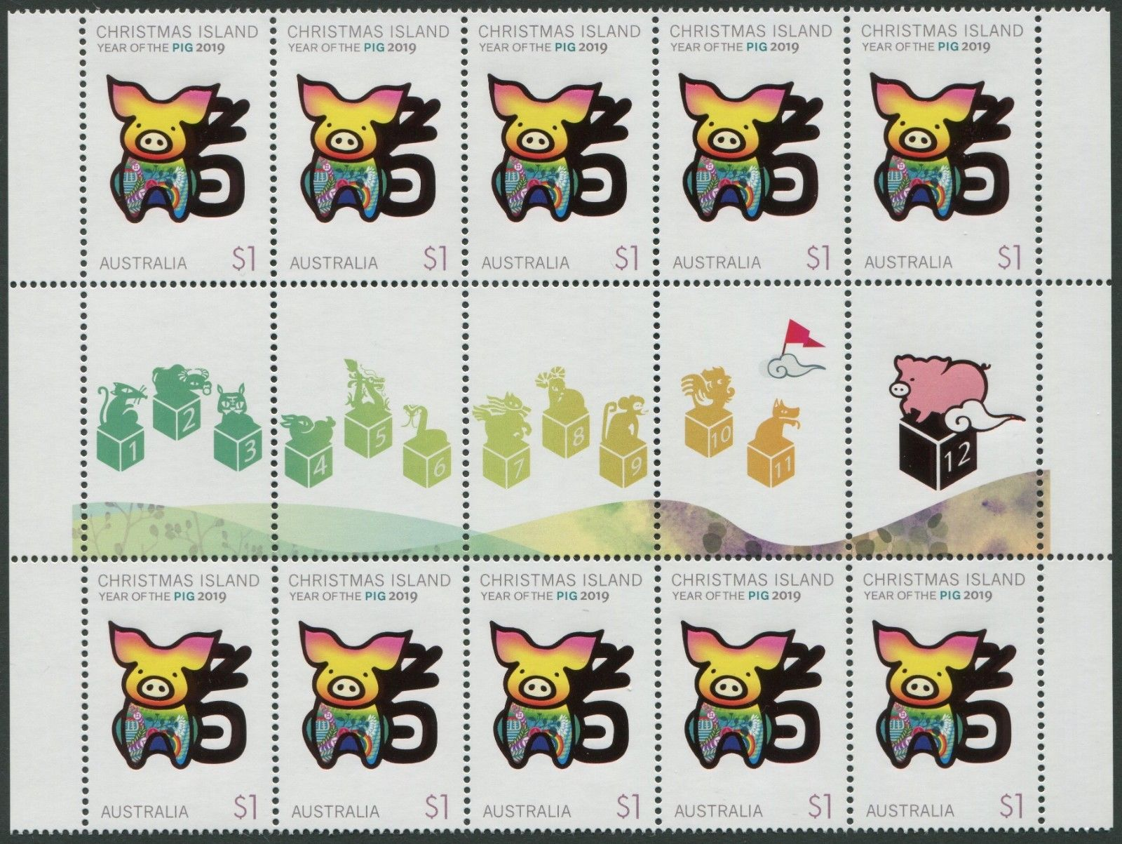 Christmas Island - Year of the Pig (January 8, 2019) sheet of 10