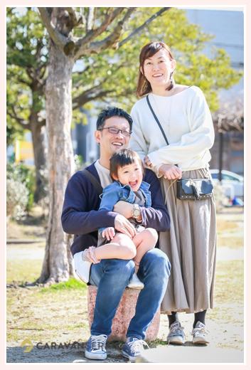 公園で家族写真